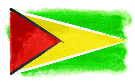guyana: watercolor illustration of the Guyana flag Stock Photo