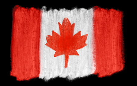 agile: watercolor illustration of the Canada flag Stock Photo
