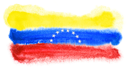 bandera de venezuela: ejemplo de la acuarela de la bandera de Venezuela Foto de archivo