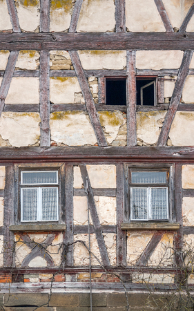 farmhouse: detail of a rundown old farmhouse in Southern Germany Stock Photo