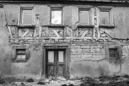 rundown: detail of a rundown old farmhouse in Southern Germany Stock Photo