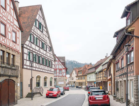 half timbered house: Impression of Forchtenberg, a small town in Hohenlohe located in Southern Germany Stock Photo