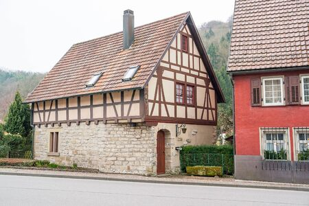 half timbered house: Impression of Forchtenberg, a small town in Hohenlohe located in Southern Germany Editorial