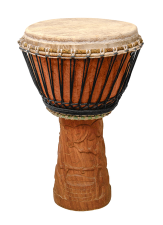 djembe drum: traditional wooden african djembe drum in white back