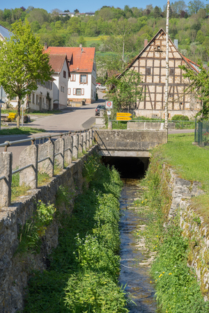 rivulet: idyllic scenery around a village in Hohenlohe named Baechlingen at spring time