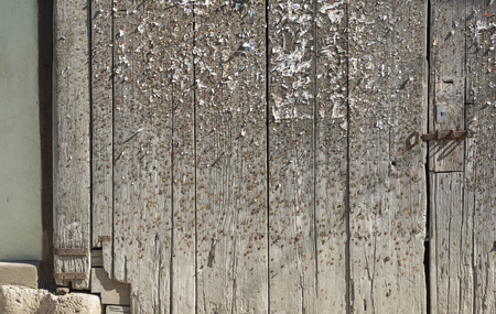 blotched: old weathered wooden gate blotched with lots of staples and pins