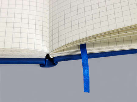 graph paper: a open blue notebook with graph paper detail and bookmark in grey back
