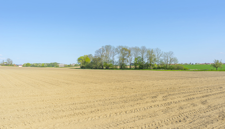 an agricultural district: sunny agricultural scenery at a plowed field in Hohenlohe, a district in Southern Germany