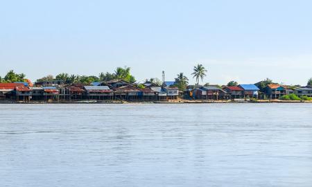 riparian: rural village at Mekong river in Laos