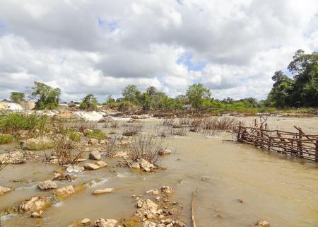waterside: waterside scenery at Mekong river in Laos Stock Photo