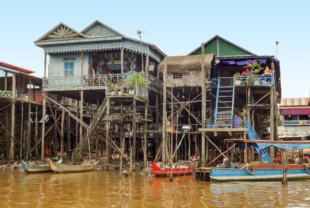 tonle sap: traditional settlement with wooden houses at the Tonle Sap river in Cambodia