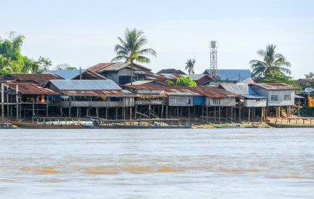 mekong: rural village at Mekong river in Laos