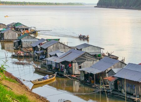 indigene: waterside scenery around Koh Trong, a island at Mekong river in Cambodia