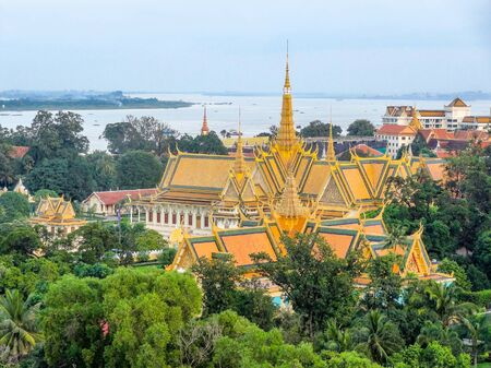 penh: aerial scenery with palace at the capital city Phnom Penh in Cambodia
