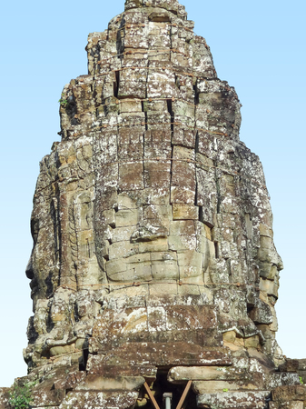 bayon: temple detail at Prasat Bayon in Cambodia
