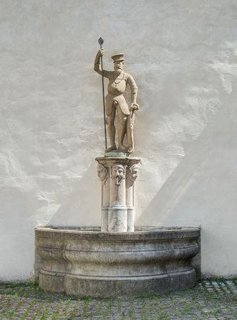 order in: well with figure of a Grand Master of the Teutonic Order in Bad Mergentheim, a town in Southern Germany