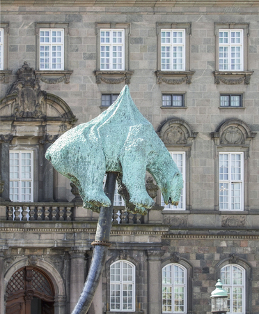 unbearable: impaled polar bear sculpture named Unbearable in Copenhagen the capital city of Denmark Editorial