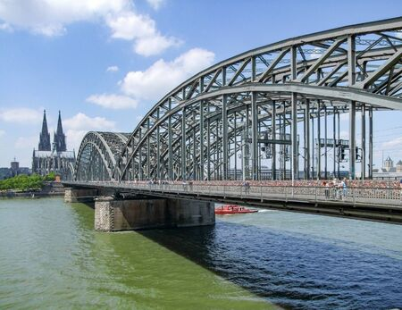 riparian: waterside scenery with cologne cathedral and hohenzollern bridge  in Cologne, a city in North Rhine-Westphalia in Germany