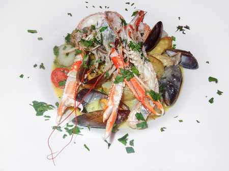 crustaceans: fresh seafood dish with crustaceans and bivalves Stock Photo
