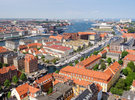 urbanized: aerial view of Copenhagen, the capital city of Denmark