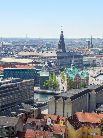 urbanized: aerial view of Copenhagen, the capital city of Denmark