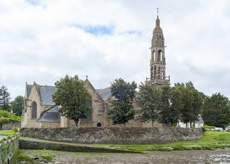 commune: church located in a commune in the Finistere department named Rumengol at Le Faou in Brittany Stock Photo
