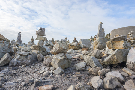 stacked stone: lots of small stacked stone piles at the Crozon peninsula around Pointe de Pen-Hirin Brittany, France