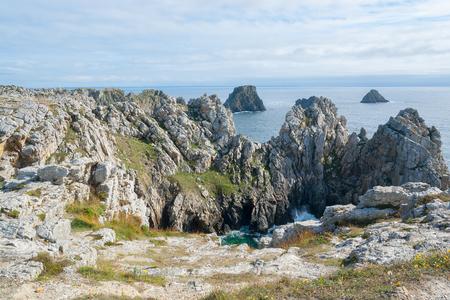 riparian: rocky coastal scenery around Pointe de Pen-Hir in Brittany, France