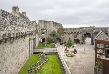 scenery inside the old town of Concarneau in the Finistere department of Brittany in France