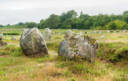 scenery around the  Carnac stones, a megalithic site in Brittany, France