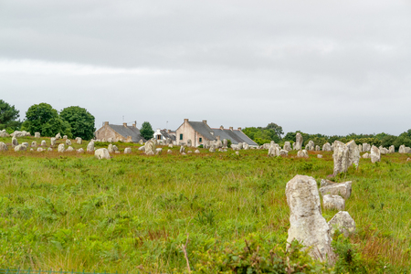megalith: scenery around the  Carnac stones, a megalithic site in Brittany, France