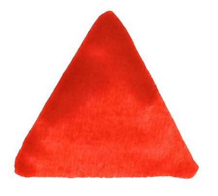 angled: a red watercolor triangle in white back Stock Photo