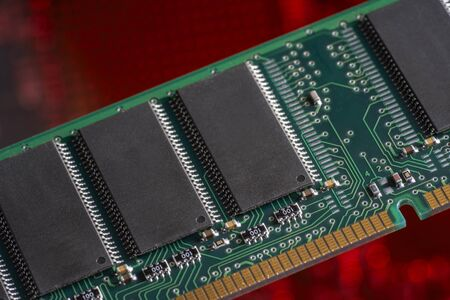 computer memory: Computer memory closeup in red ambiance Stock Photo