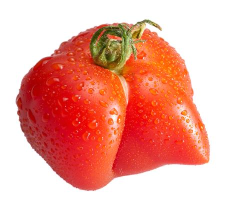 strange shaped red wet tomato in white back