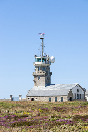 coastal observation tower around Pointe du Raz in Brittany, France Stock Photo