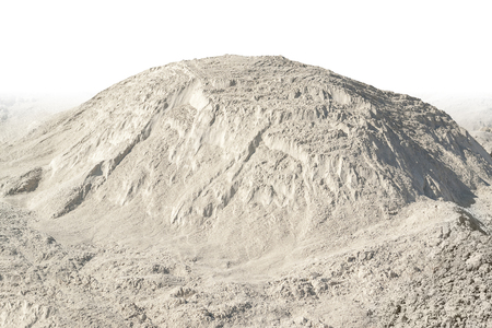 scarp: sunny illuminated light brown heap of earth in gradient white back Stock Photo