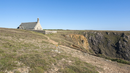 Chapel Saint-They at Pointe du Van, a promontory in Brittany, France