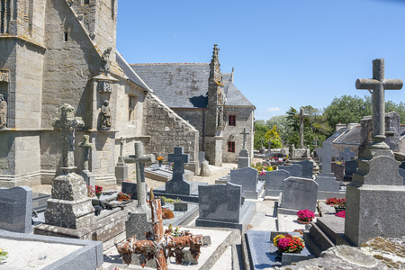 commune: chapel Saint Tugen in Primelin, a commune in the Finistere department of Brittany in north-western France. Stock Photo