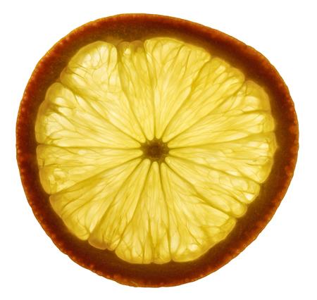cross section: cross section slice of a orange fruit in white back