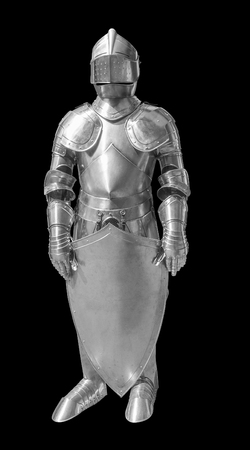 reflective: historic full body metallic plate armour in black back