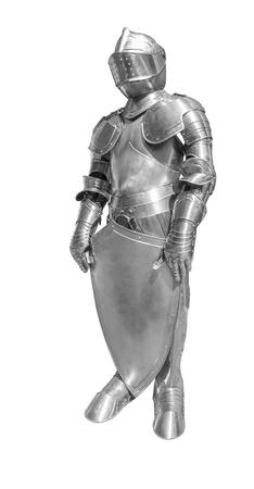 historic full body metallic plate armour in white back