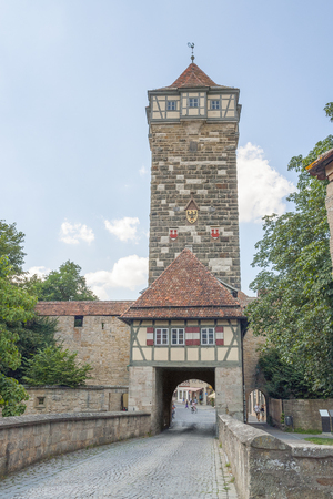 parapet: city view with town gate in Rothenburg ob der Tauber, a town in Middle Franconia in Bavaria, Germany