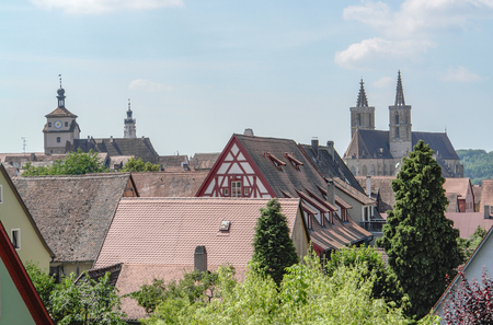 church steeple: high angle view of Rothenburg ob der Tauber, a town in Middle Franconia in Bavaria, Germany