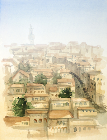 urbanized: watercolor painting showing a town in Tuscany at summer time