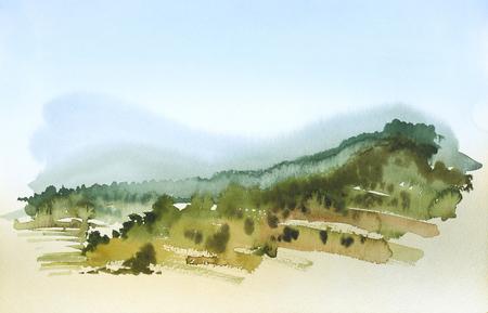 夏の時間でトスカーナの風景を示す水彩画