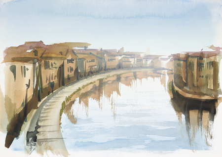 watercolor painting showing a town in Tuscany at summer time