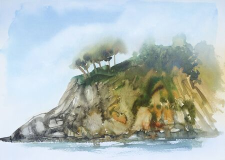 aquarelle painting art: watercolor painting showing a coastal landscape in Tuscany at summer time Stock Photo