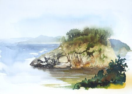 watercolor painting showing a coastal landscape in Tuscany at summer time Stock fotó