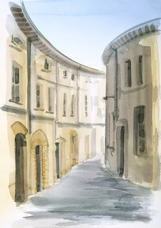 tuscany: watercolor painting showing a town in Tuscany at summer time