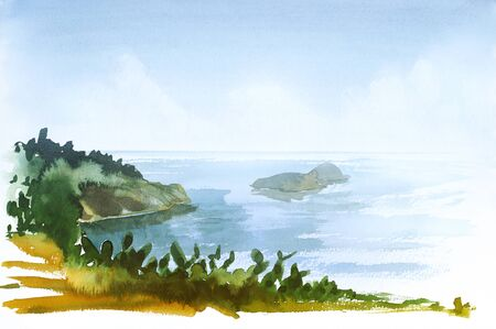 watercolor painting showing a coastal landscape in Tuscany at summer time Stock Photo
